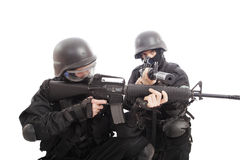 Defend. Shot of a soldier holding gun Stock Photography