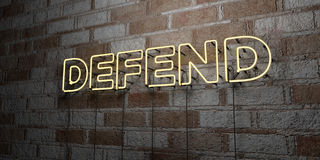 DEFEND - Glowing Neon Sign on stonework wall - 3D rendered royalty free stock illustration. Can be used for online banner ads and direct mailers royalty free illustration