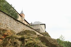 Tower and walls of castle Kost. Defend tower and walls of Gothic castle Kost on rock in Czech Republic Stock Images