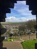 Defend the town from the castle. Clitheroe castle 2017 Royalty Free Stock Image