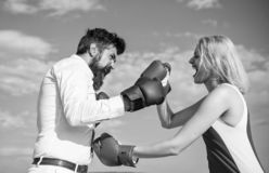 Defend your opinion in confrontation. Couple in love fighting. Relations and family life as everyday struggle. Relations. As struggle concept. Man and women royalty free stock photo