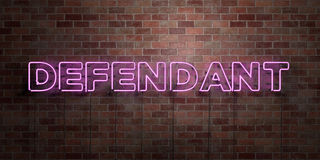 DEFENDANT - fluorescent Neon tube Sign on brickwork - Front view - 3D rendered royalty free stock picture. Can be used for online banner ads and direct mailers Royalty Free Stock Images