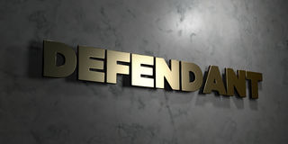Defendant - Gold text on black background - 3D rendered royalty free stock picture. This image can be used for an online website banner ad or a print postcard Royalty Free Stock Photo