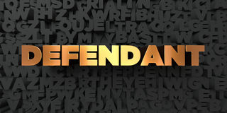 Defendant - Gold text on black background - 3D rendered royalty free stock picture Royalty Free Stock Photography