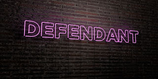 DEFENDANT -Realistic Neon Sign on Brick Wall background - 3D rendered royalty free stock image. Can be used for online banner ads and direct mailers Royalty Free Stock Images