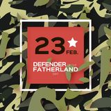 Defender of the Fatherland day. 23 February Greeting card for men on military background. The Day of Russian Army. Russian national holiday in paper cut style Royalty Free Stock Photos