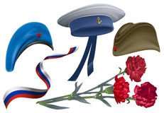 Defender of Fatherland Day. Set of accessories for greeting card field cap, peakless hat, beret, carnation flower bouquet, ribbon. Russian flag. Isolated on Royalty Free Stock Image