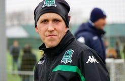 defender of fc krasnodar Sergey Petrov on the open training session Royalty Free Stock Photo