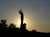 Defender of Motherland monument. Soldier, woman and child with golden branch in a hand Royalty Free Stock Photo