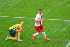 Defender of the National Team of Poland Lukasz Piszczek during friendly soccer match versus Lithuania Stock Photography