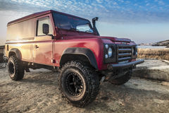 '86 Defender. SELMUN, MALTA - MAY 31, 2015: A 1989 Land Rover Defender 110. The iconic Defender sadly goes out of production production in December 2015 royalty free stock photography