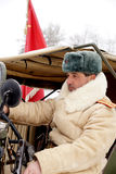 Defender of Stalingrad in a winter form Royalty Free Stock Photo