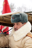 Defender of Stalingrad in a winter form with a red banner Stock Photography