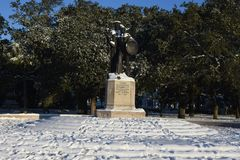 Defenders of Fort Sumter Monument. The Defenders of Fort Sumter Monument in Battery Park is covered in snow as the result of the January 3, 2018 snowstorm Royalty Free Stock Photography