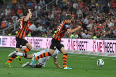 Defenders of Shakhtar playing football Stock Image