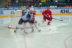 Defenders Spartak on on hockey game Royalty Free Stock Images