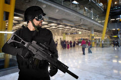 Defending the airports from terrorist attacks Royalty Free Stock Photo