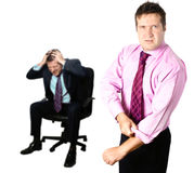 Defending businessman stock photography