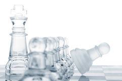Defending the king. Row of pawns are defending king, cut out from white royalty free stock photo