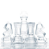 Defending the king. Set of chess pieces are defending king, cut out from white stock photo