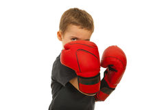 Defending little boy with boxing gloves. Isolated on white background stock photos