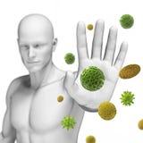 Defending some pollen. 3d rendered illustration defending some pollen Stock Photography