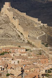 Defending wall in the picturesque village of Albarracin. Spain Royalty Free Stock Photography