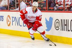 Defensa Stephen Weiss de los Detroit Red Wings Fotos de archivo libres de regalías