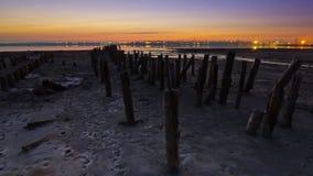 Defensas de marea en la oscuridad Imagen de archivo libre de regalías