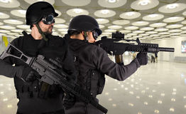 Defense against terrorism, two soldiers Stock Photo