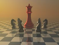Defense, attack, war and fight concept with chess pieces Royalty Free Stock Image