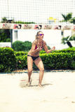 Defense. Beach Volleyball Tournament women. Location: Ostia, Rome. Italy Stock Photography