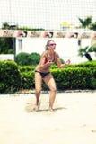 Defense. Beach Volleyball Tournament women. Location: Ostia, Rome. Italy. April 12, 2015. Beach Volleyball Tournament women. Location: Ostia (Hibiscus), Rome Stock Photography