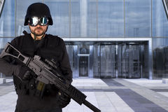 Defense of building, protecting a business complex Stock Image