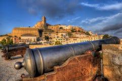 Defense cannons in Ibiza Royalty Free Stock Photos