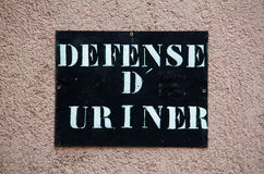 Defense D'Uriner Or No Urination Royalty Free Stock Photo