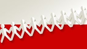 Defense of democracy banner cut out of paper people on the Polish flag background. royalty free stock photography