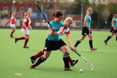 Defense hit in czech field hockey extraleagu Royalty Free Stock Image