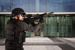 Defense of industry, protecting a business complex Stock Photo