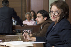 Defense Lawyer With Client In Court Stock Photography