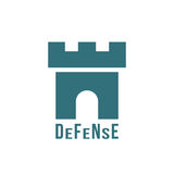 Defense logotype with fortress icon Royalty Free Stock Image