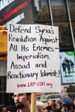 Defense. New York City protest of Syrian invasion Royalty Free Stock Photo