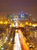 Defense , Paris. View from Arc de Triumphe towards Paris business district Defense Royalty Free Stock Image