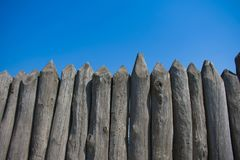 Defense and protection of the stockade of logs from the Zaporozhye Sich.  royalty free stock images