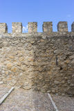 Defense, Stone walls of a medieval castle. Town of Consuegra in Royalty Free Stock Photos