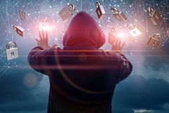 Defense system protects against a hacker. Stock Photography