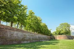 Defense system - a wall in the Tuscan town of Lucca Royalty Free Stock Image