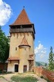 Defense tower in Biertan, Transilvanya Romania. Defense tower wall in Sibiu, Romania royalty free stock photography
