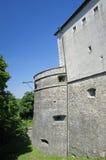 Defense tower of the Cerveny Kamen castle in Slovakia stock photos