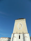 Defense tower with clear blue sky. Defense tower with clear blue sky, of the old renovated fortress of Medias city, Romania Stock Photo